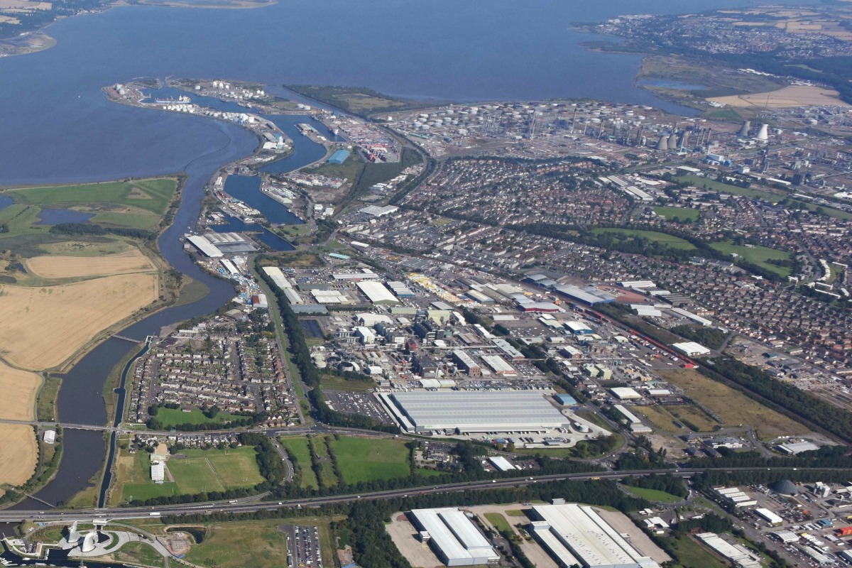 Aerial view of Grangemouth, one of the UK's most important industrial sites