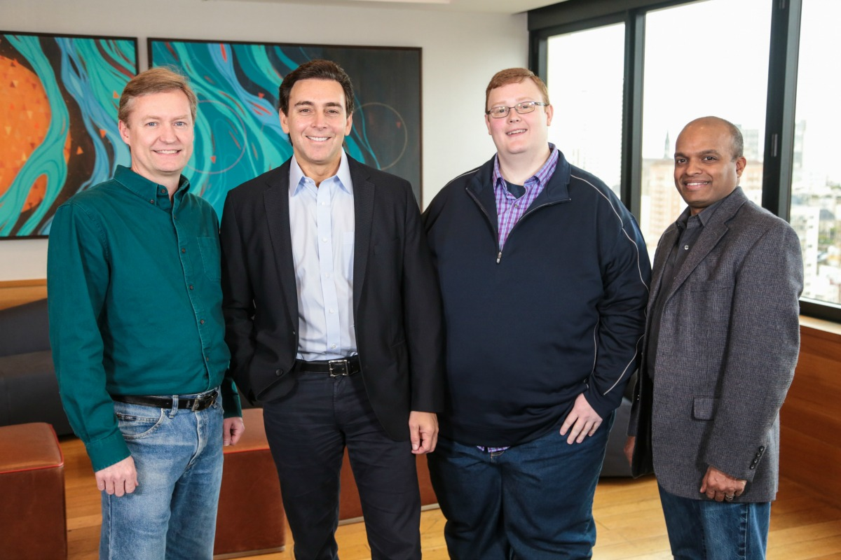 Rander, Argo AI COO; Fields, Ford president and CEO; Salesky, Argo AI CEO; and Nair, Ford exec VP