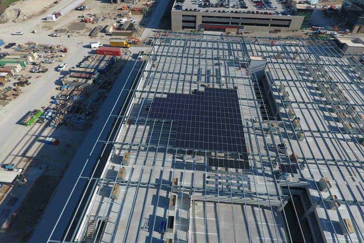 The 8.79-megawatt SunPower solar energy system takes shape. Picture courtesy: Axium Solar