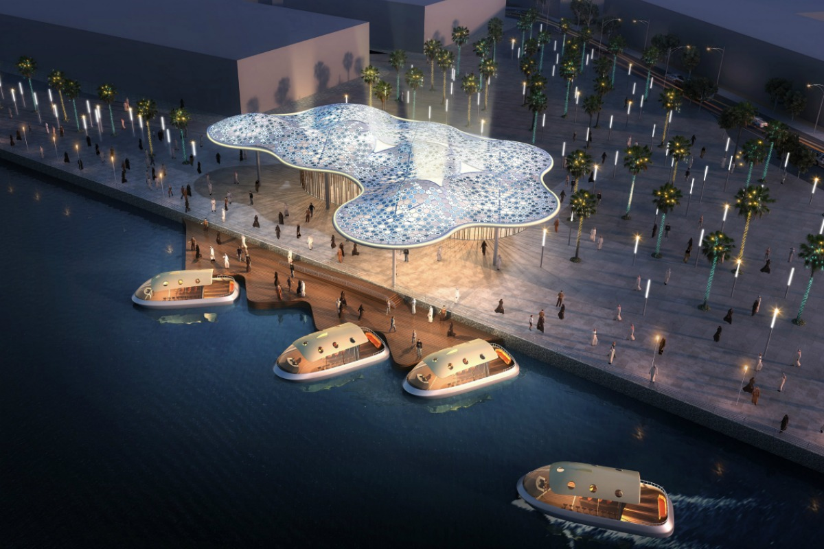3D visualisation of the marine transport stations along the Dubai Canal