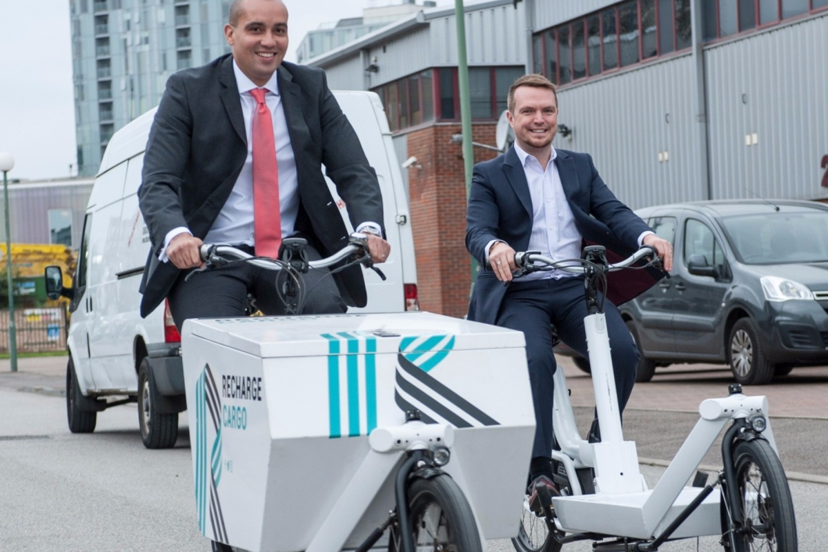 Councillor Sizwe James and Sharing Cities' Nathan Pierce trying out the new cargo bikes