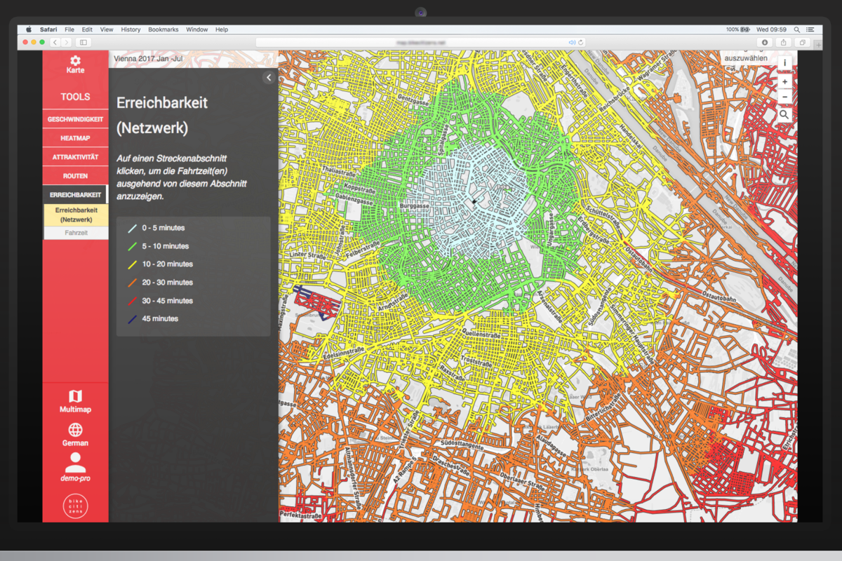 Bike Citizens visualises bicycle traffic intensity as well as bike traffic trends