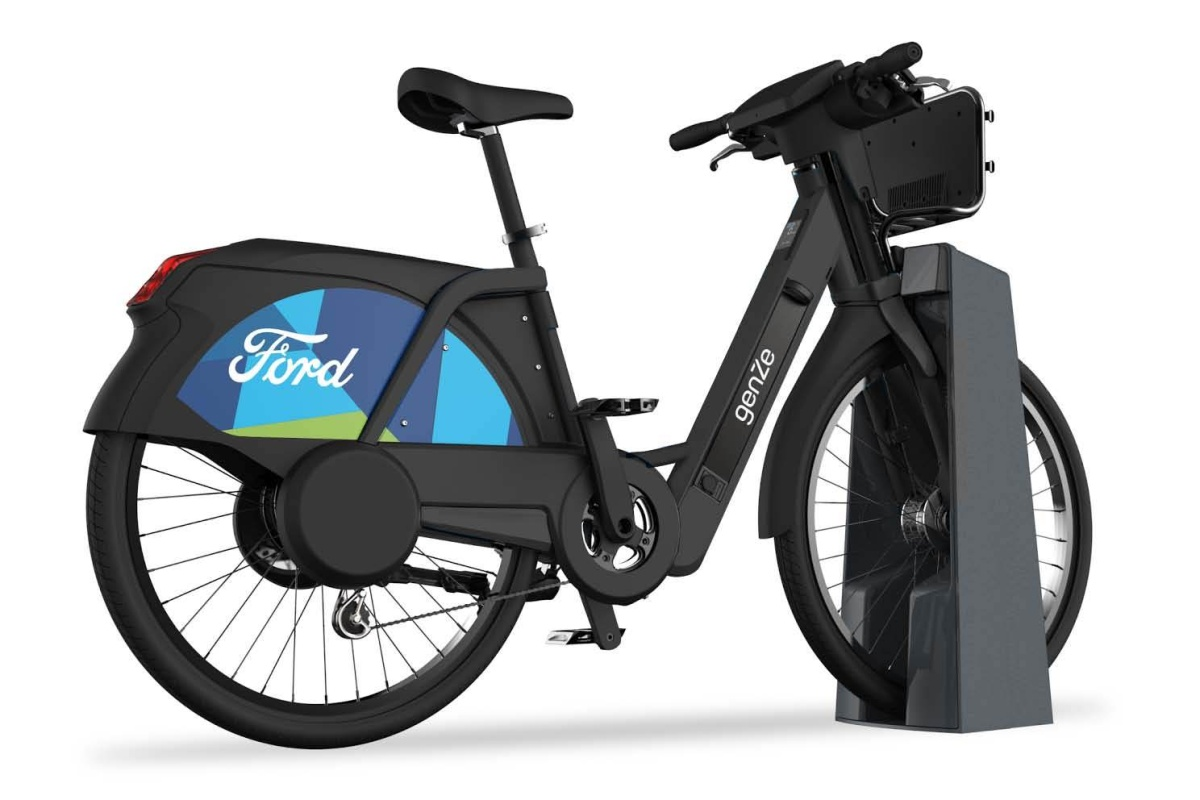 A rendering of the Ford GoBike-branded GenZe electric bicycles