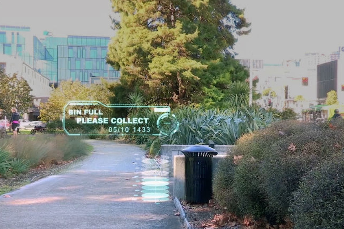 Sensors can inform local councils about the volume of rubbish in a public bin