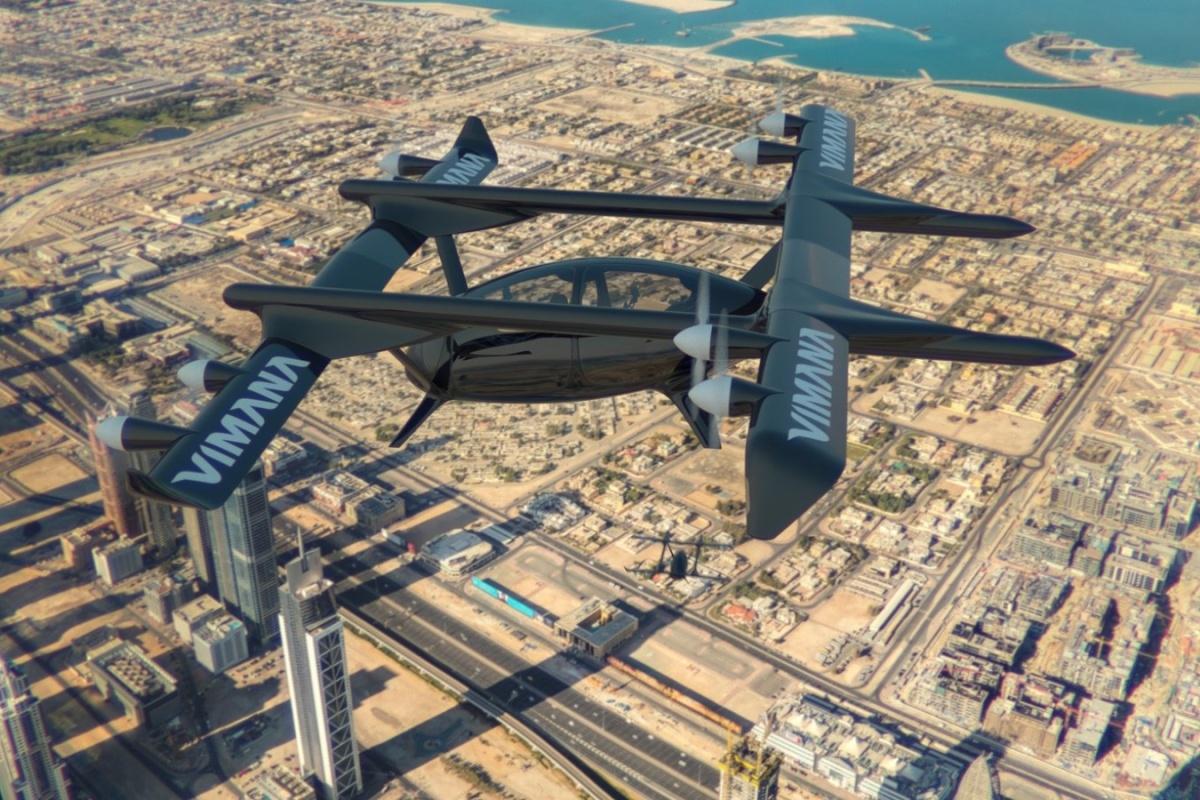 Vimana Global's autonomous aerial aircraft VTOL 4-seater model