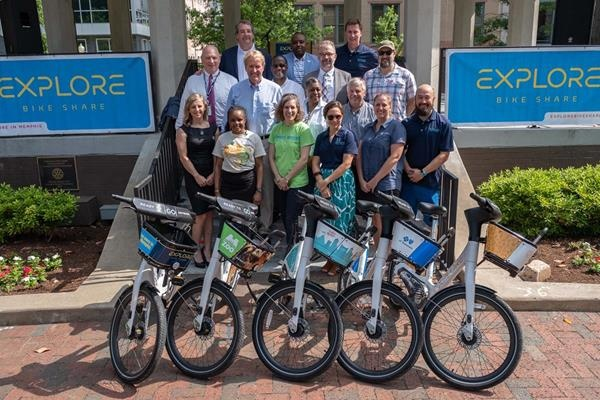 The launch of the Explore Bike Share programme in Memphis