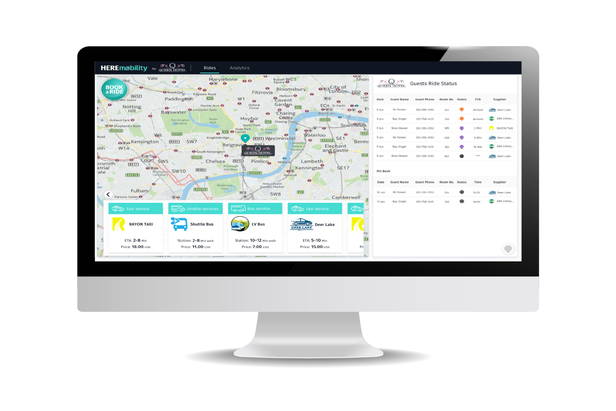 HERE's Mobility Marketplace will provide live schedule updates and pricing comparisons