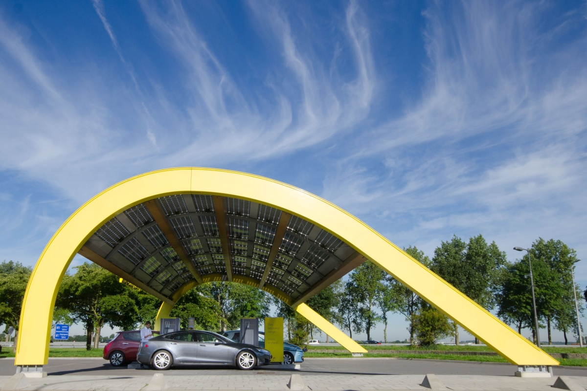 One of Fastned's iconic charging stations with solar panels. Picture: Roos Korthals Altes