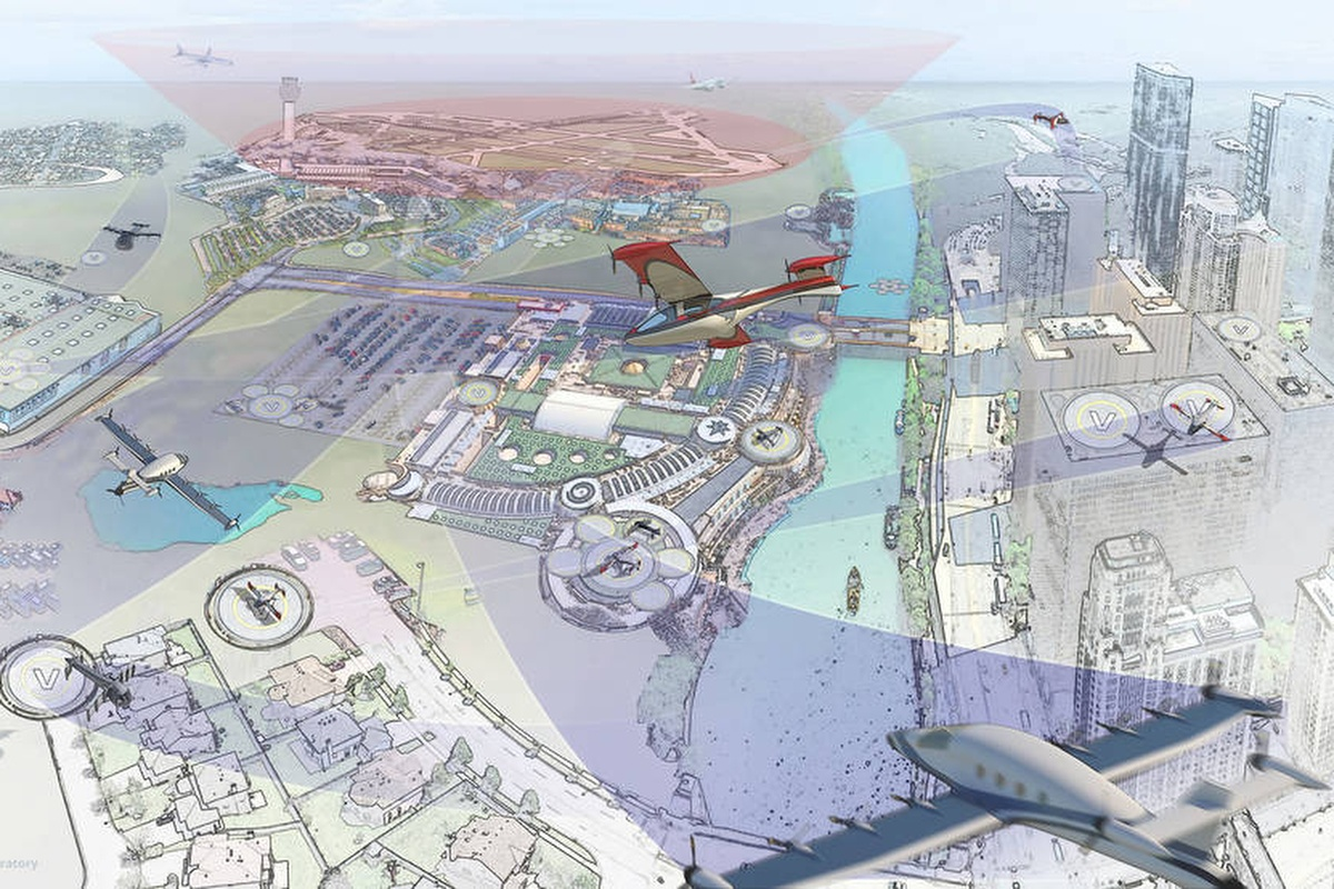 Artist's impression of the urban airspace. Image courtesy NASA/Advanced Concepts Laboratory