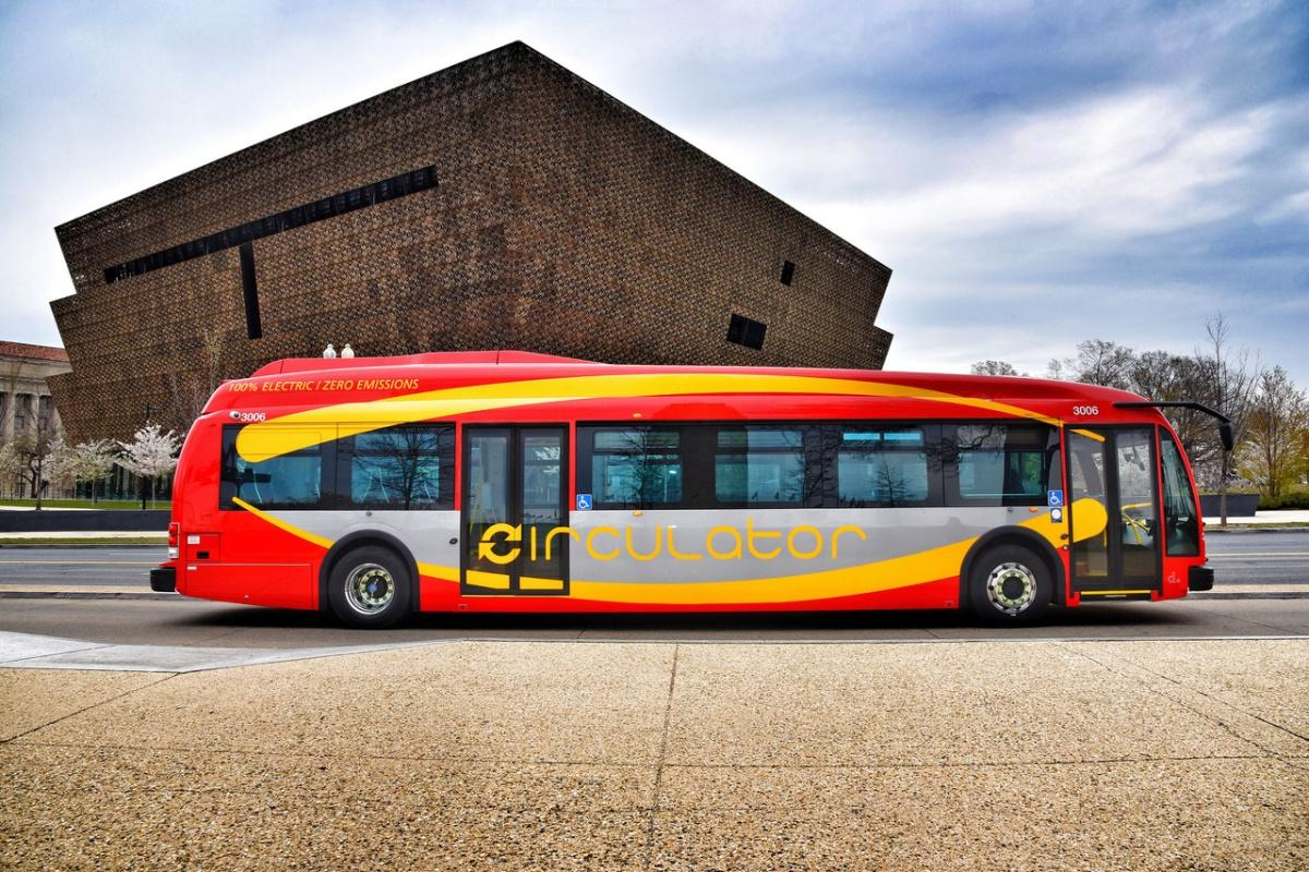 One of the new electric buses that will run on the DC Circulator System