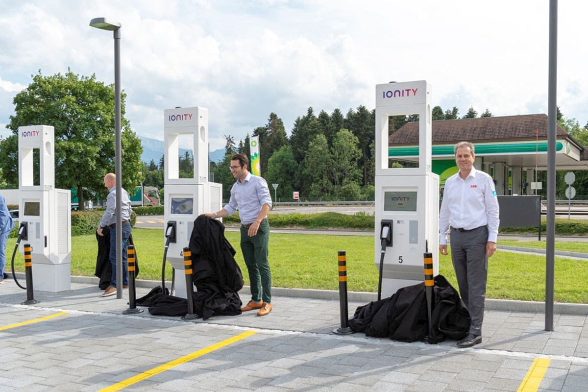 The pilot electric charging station on the A2 motorway in Neuenkirch, Switzerland