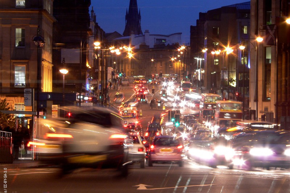 A Telensa smart streetlight deployment in Edinburgh, part of the city's energy efficiency plan
