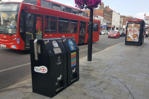 Solar street bins alert borough when full