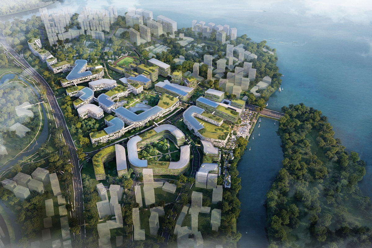 Artist's impression of the Punggol Digital District from the air