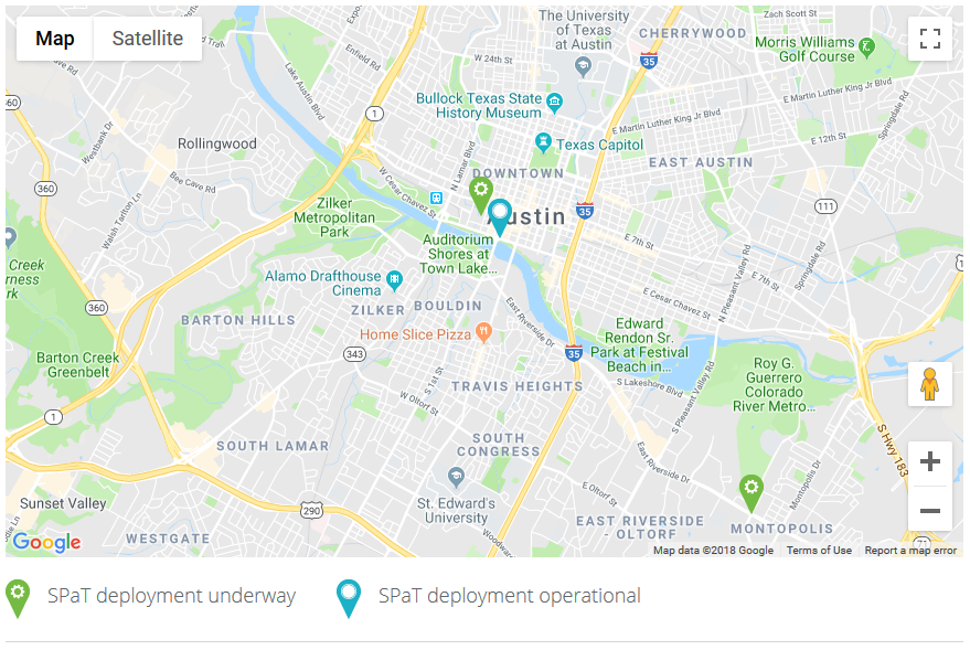 Map shows where SPaT deployments are operational and underway in Austin