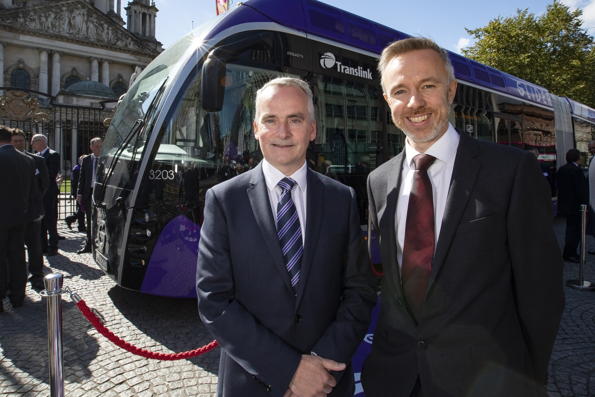 Translink's Chris Conway (left) and Owen Griffith of Flowbird at the launch