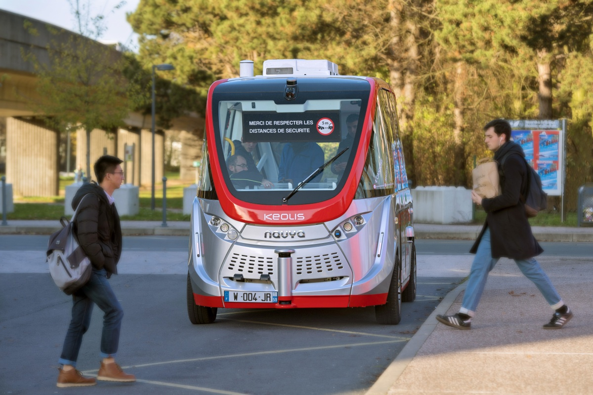 Navya shuttle in operation on Lille's university campus. Picture courtesy: Vincent Lecigne