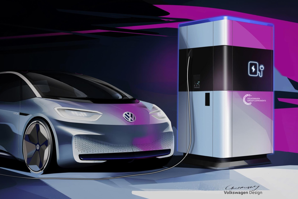 The first glimpse of the mobile charging station with a Volkswagen concept car