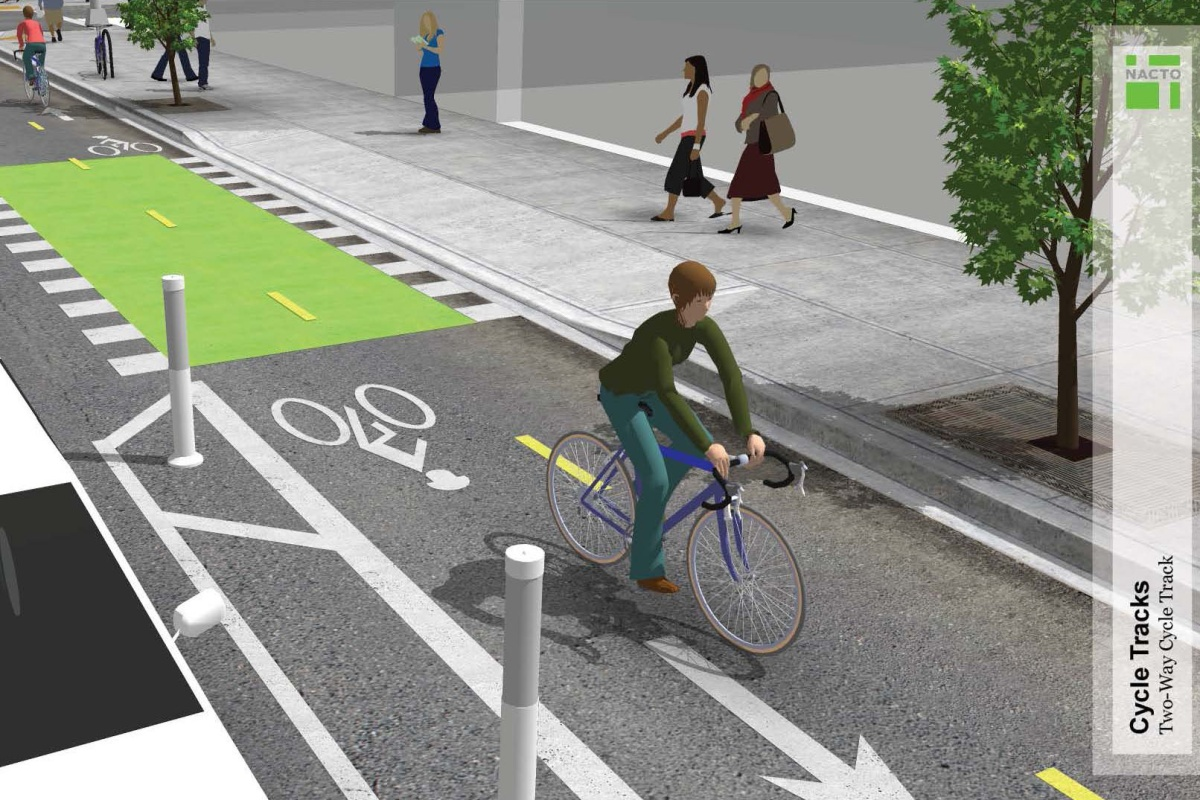 The two-way cycle tracks will run on major arteries in downtown San Diego