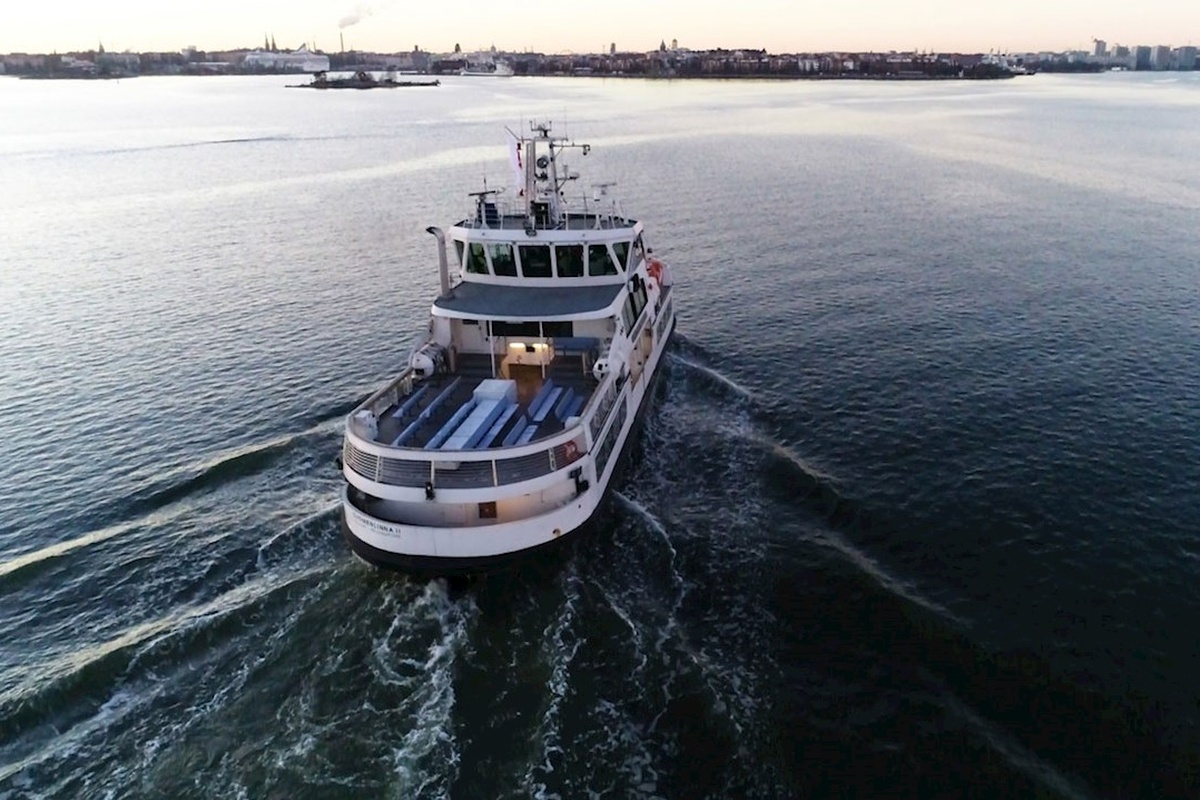 The ice-class Suomenlinna ferry was remotely piloted through a test area near Helsinki harbour