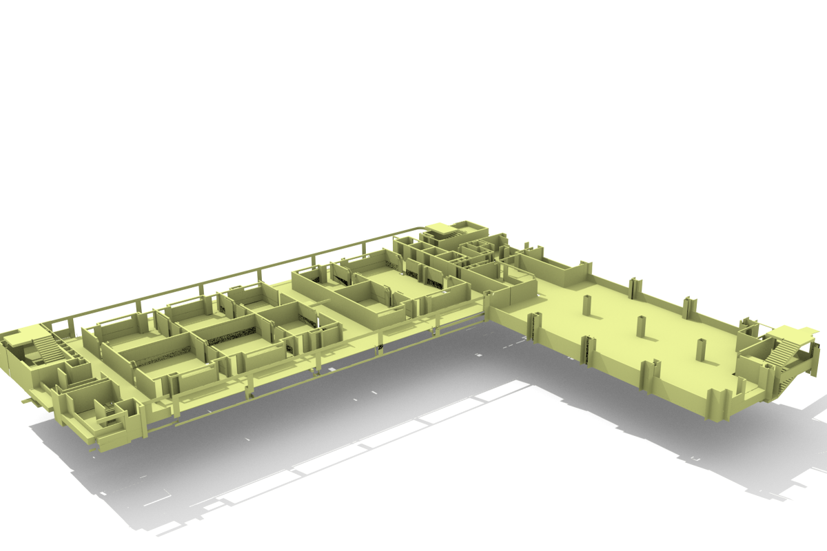 A render from a CityGML model that Ordnance Survey created from a BIM model