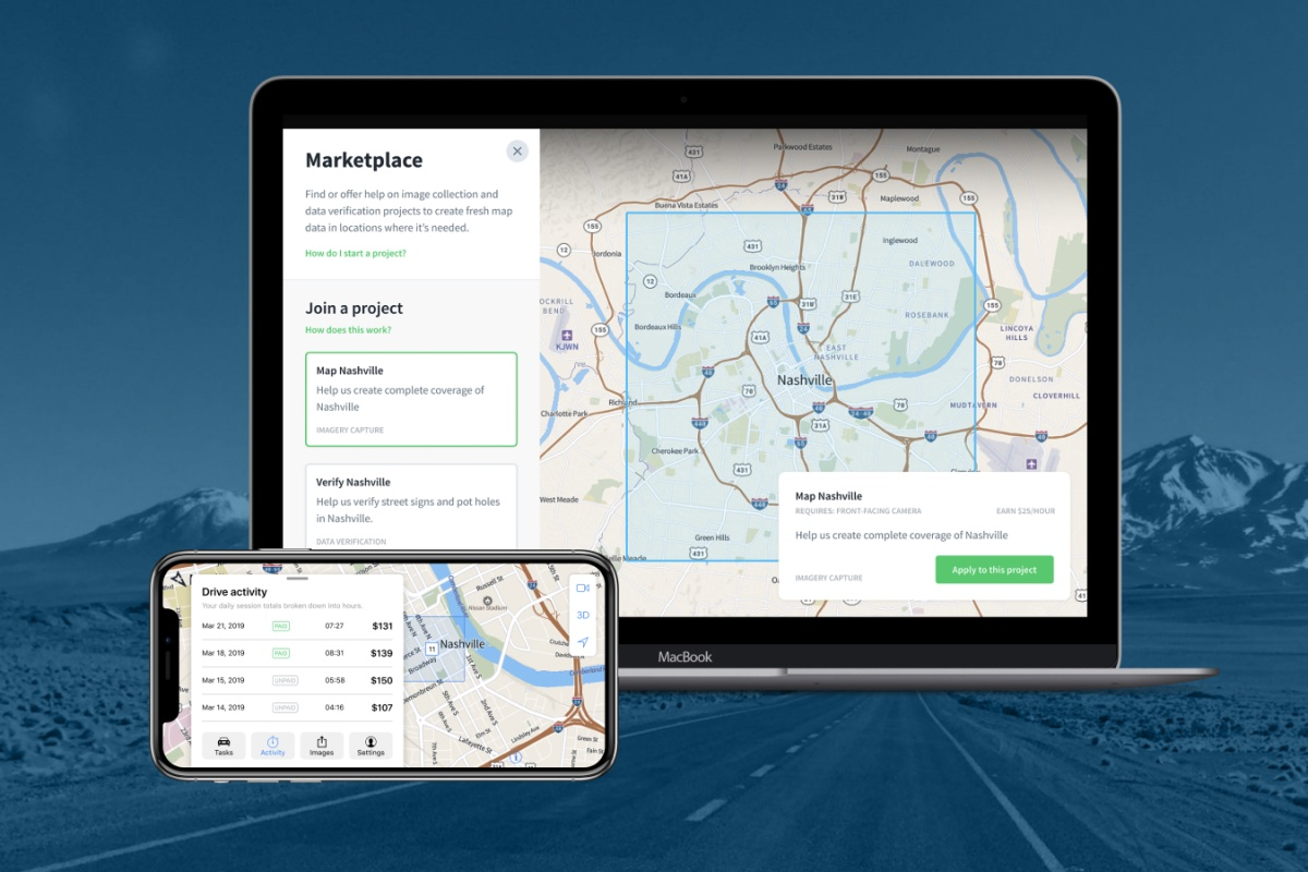 The Mapillary marketplace covers Europe and the USA