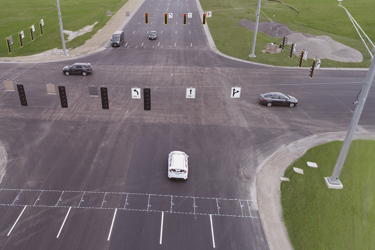 One of the movable intersections at the advanced TRC test site in Ohio