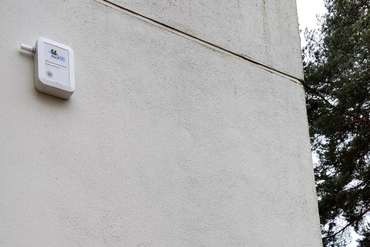 An Internet of Things sensor on one of the blocks of flats. Photograph: Petja Partanen