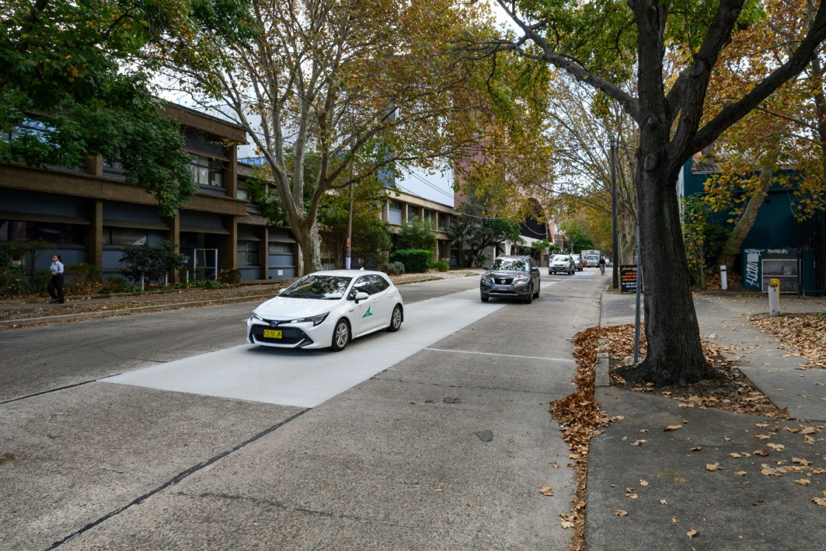 The surface is being trialled in a section of Wyndham Street in Alexandria