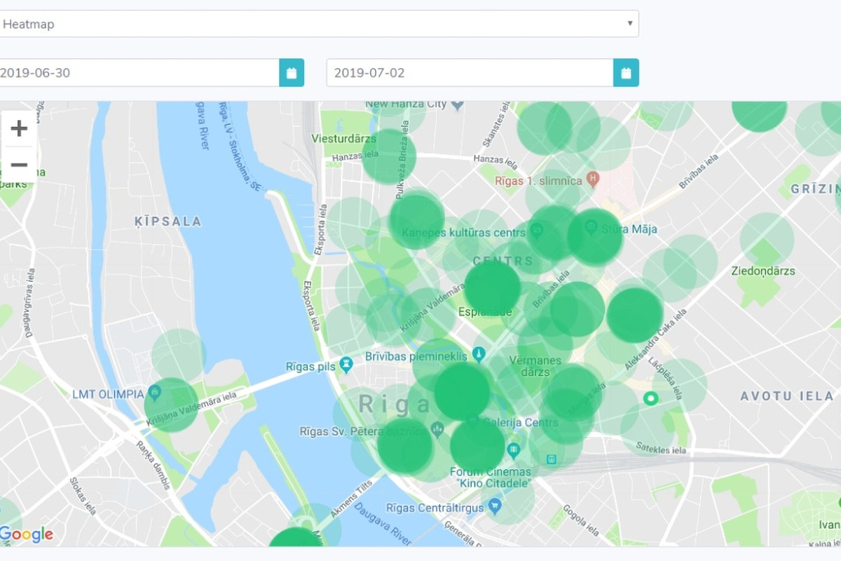 A heatmap helps to show ride-share operators the exact location of e-scooters