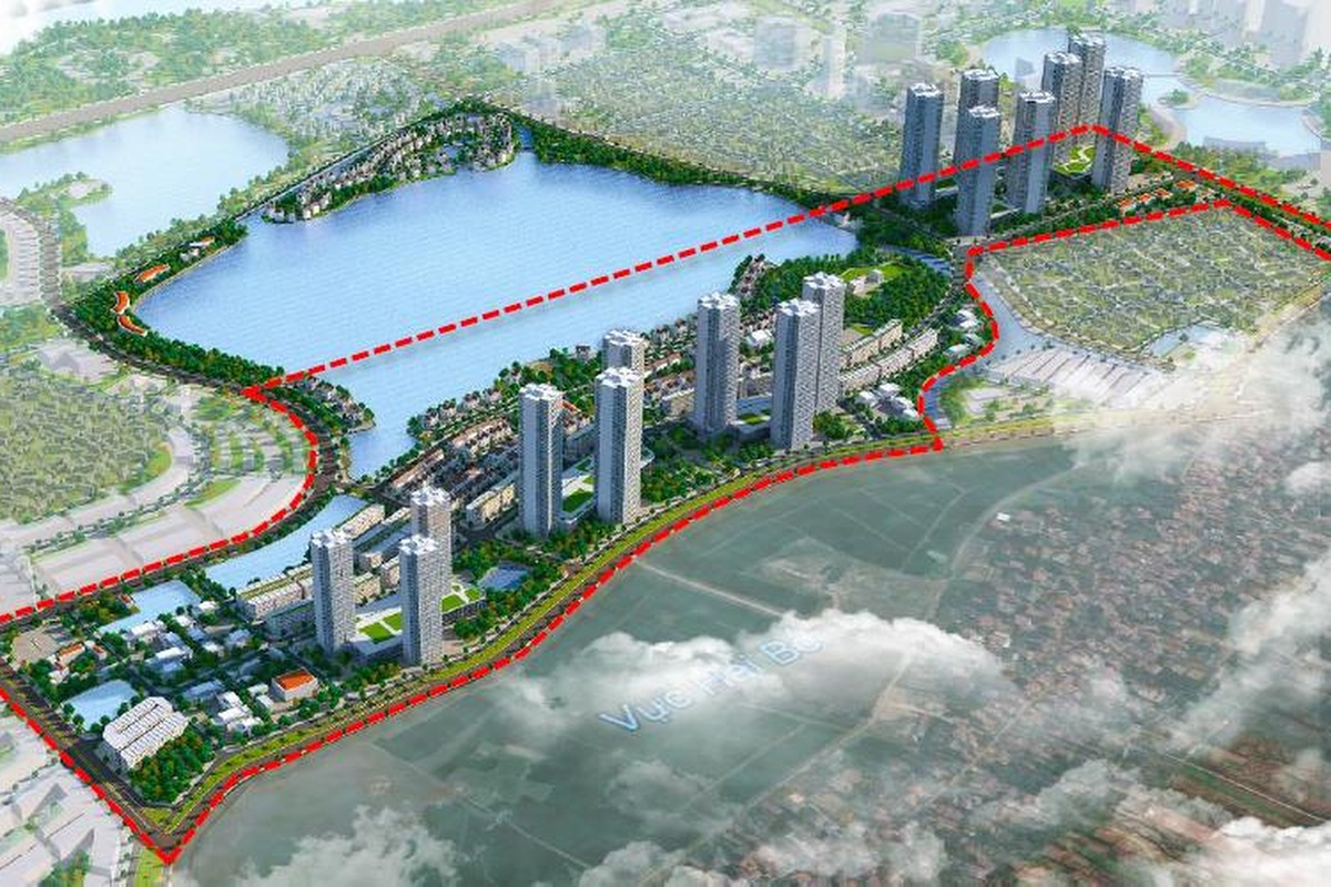 The red dotted line marks the first phase of the smart city development in Dong Anh