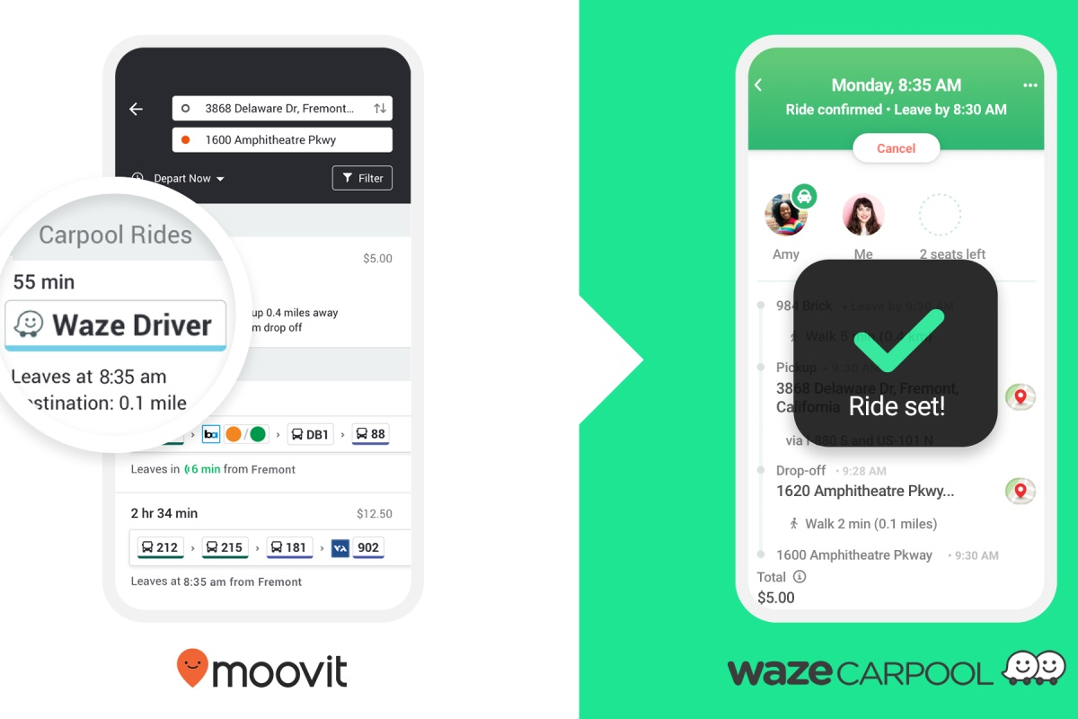 The Waze and Moovit carpool pilot is driven by commuters for commuters