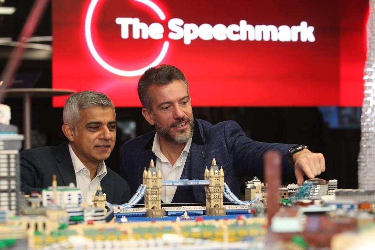 Sadiq Khan (left) and Vodafone CEO Nick Jeffery with the smart city model of London