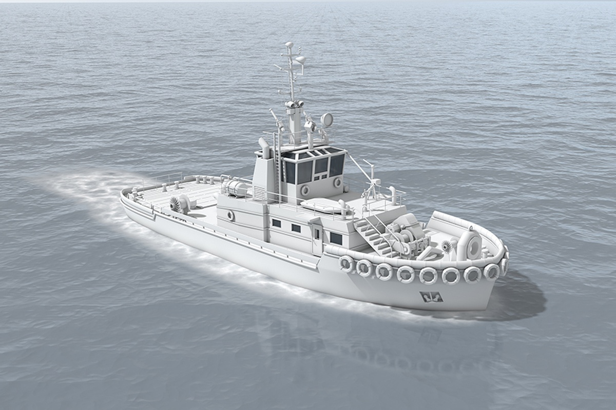 An illustration of the autonomous tugboat being developed